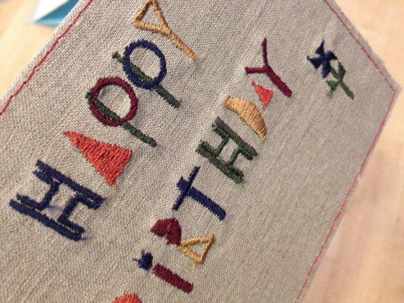 Embroidery Birthday cards Embroidery Birthday cards @Etsy  #Birthday card #Embroidery #Hand Made