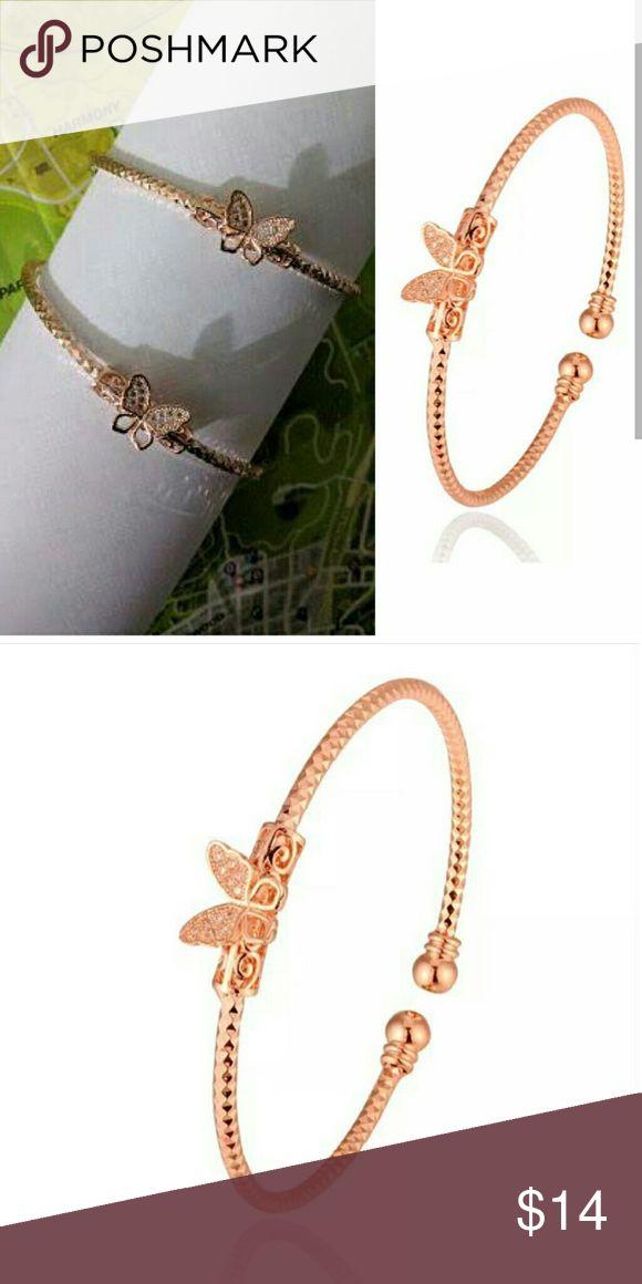 Butterfly bracelet Rose gold butterfly bracelet Jewelry Bracelets
