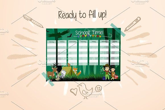 School Timetable by land art on @creativemarket