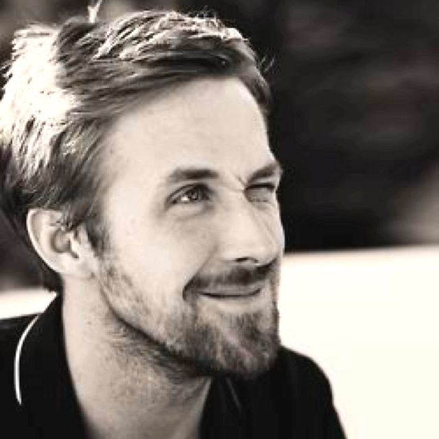Gosling, Ryan Gosling. Honestly, in many photos, he's just not my type, although he is well made. I like him in this scruffy, goofy look, though.