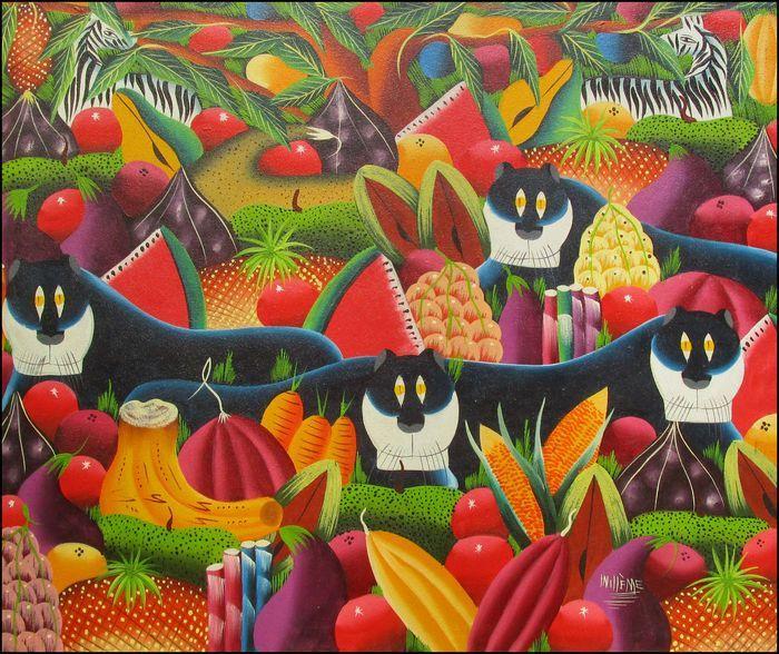 Online veilinghuis Catawiki: Willeme - Schilderij met zebra's, katachtigen en tropische vruchten