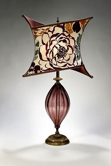 Tori: Caryn Kinzig and Susan Kinzig: Mixed-Media Table Lamp - Artful Home Large amethyst blown glass, criss-cross shade covered in bold embroidered dupioni in grape, fuschia, salmon and green colors. Beaded finial. Uses one 60-watt maximum bulb (40-watt bulb included).