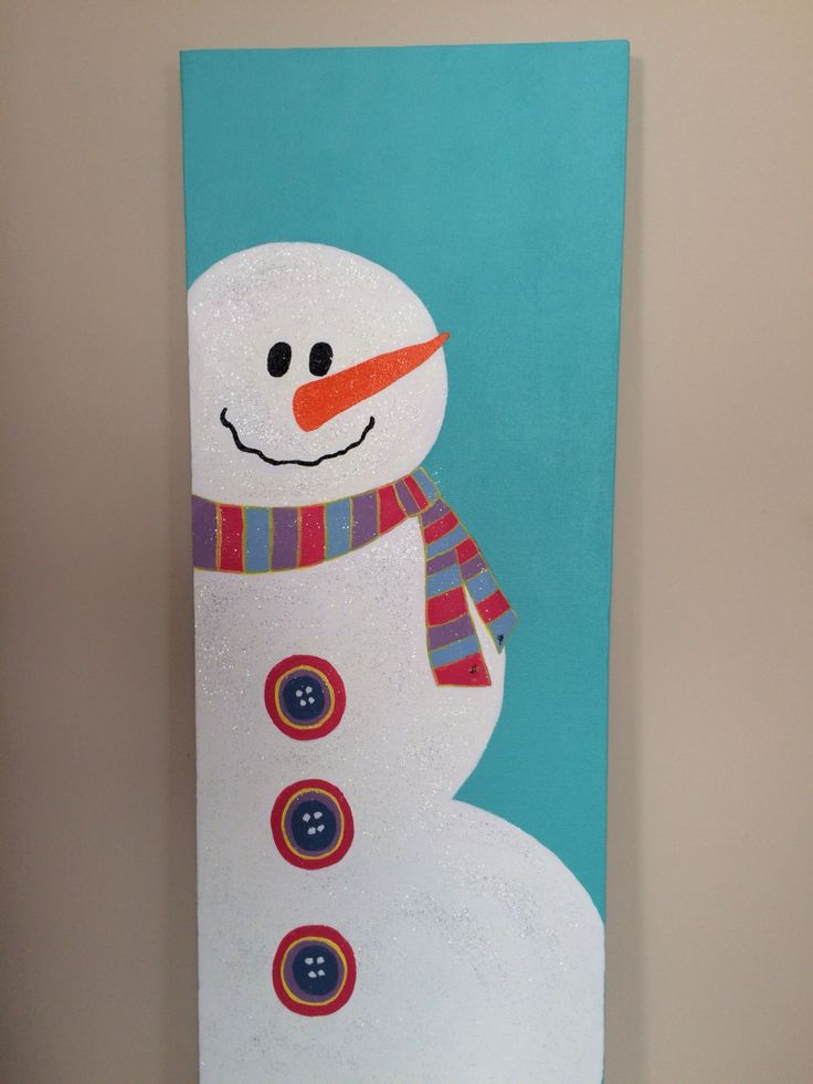 Snowman Painted On Canvas.