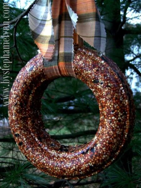 How to Make a Homemade Birdseed Wreath for the birds This is a wonderful craft to get the little ones involved with to treat our special feathered friends as the weather gets colder. They are made simply by combining gelatin and pre-mixed birdseed and are completely safe for the birds to snack on as food become scarce this time of year.