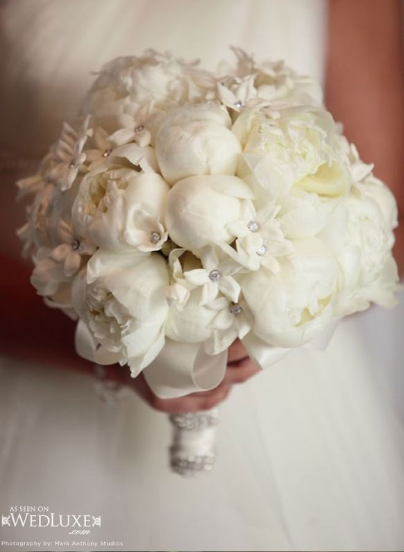 White Wedding Bouquets With Crystals