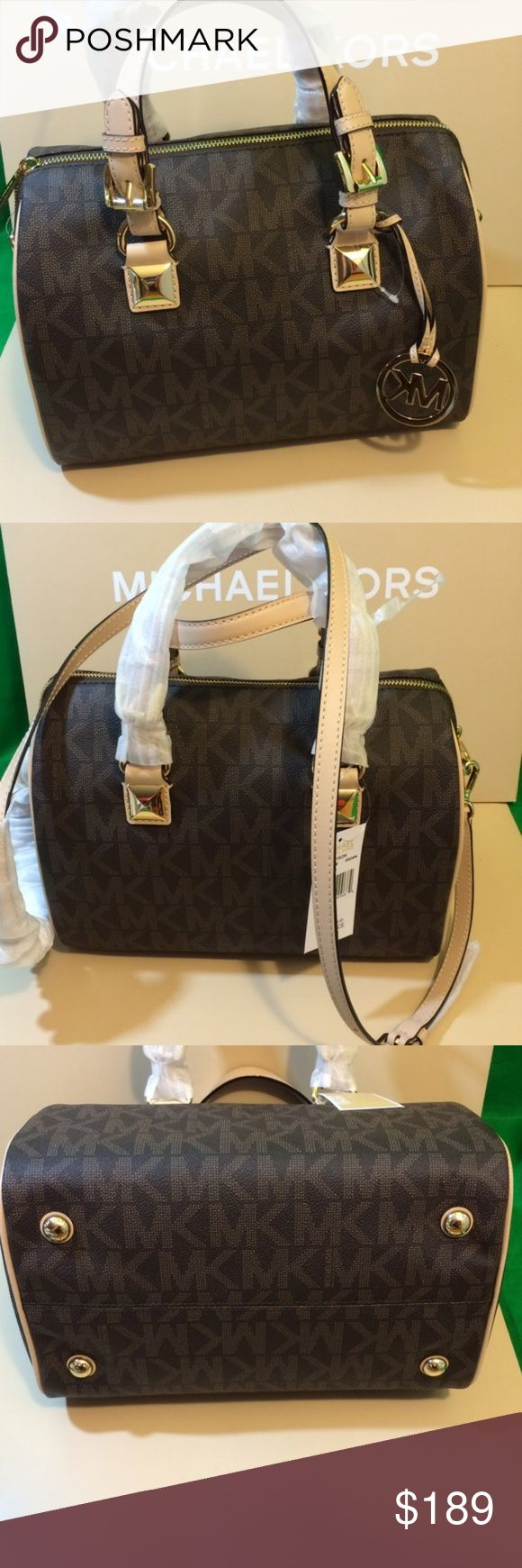NWT MICHAEL KORS SIGNATURE GRAYSON BLACK BAG SOLD New with tags, med / large size, Creme colored straps, MICHAEL KORS SIGNATURE GRAYSON BLACK SATCHEL CROSSBODY STRAP HANDBAG $298 Michael Kors Bags