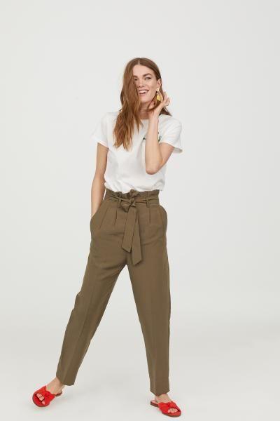 72d88a4348d645 Paper-bag Pants in 2019 | Pants | Paperbag pants, Pants, Ankle ...