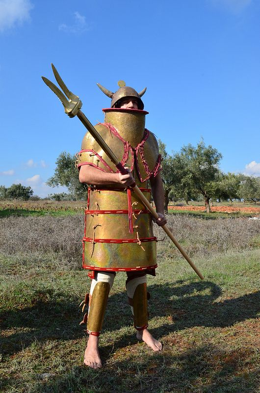 Bronze Age Mycenaean noble/elite warrior reenactor in full 'Dendra' style armour, circa 12th c. BCE.