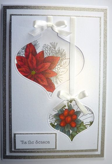 Put frame of the ornament on the front on the card for more impact.