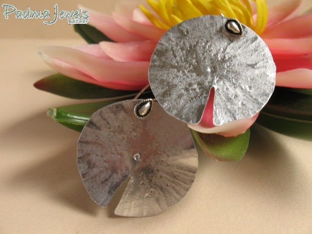 Lotus Leaf earrings aluminium and indian silver