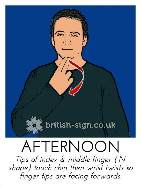 Today's British Sign Language sign is: AFTERNOON - learn BSL signs - www.british-sign.co.uk #BSL #BritishSignLanguage