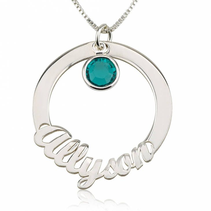 Excited to share the latest addition to my #etsy shop: Circle Name Necklace with Svarovsky Sterling Silver 925 - Custom Name Necklace - Personalized Name Jewelry - Christmas Gift http://etsy.me/2AIlpIE #jewelry #necklace #silver #no #women #yes #stainlesssteel #hook #female