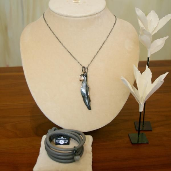 Ole Lynggaard Contemporary Silver Jewellery Capsule - Grey Leather Bracelet & Grey Moonstone Charm - Buy on 3mth subscription