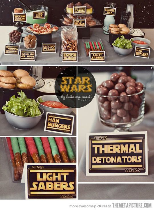 Fun ideas for a Star Wars party…@Heather Hennessy and @pam trimble...thought this was for wedding planning at first glance!