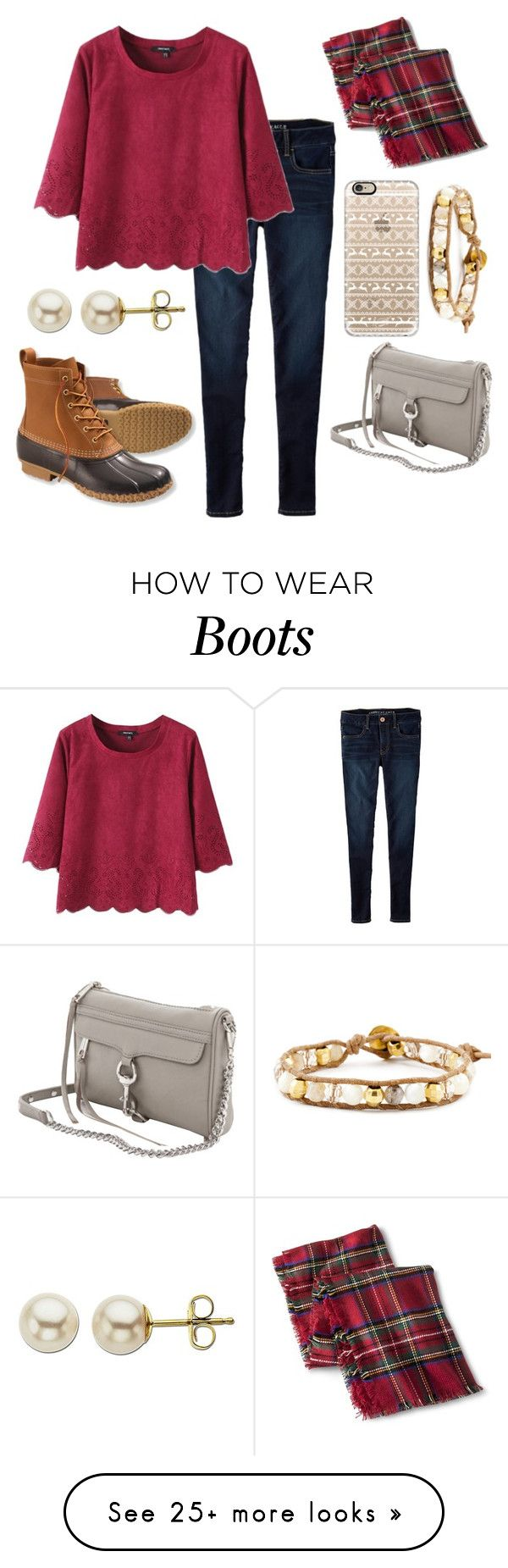 """""""bean boots & rebecca minkoff"""" by ansleighrose023 on Polyvore featuring American Eagle Outfitters, Merona, L.L.Bean, Casetify, Chan Luu, Rebecca Minkoff and Lord & Taylor"""