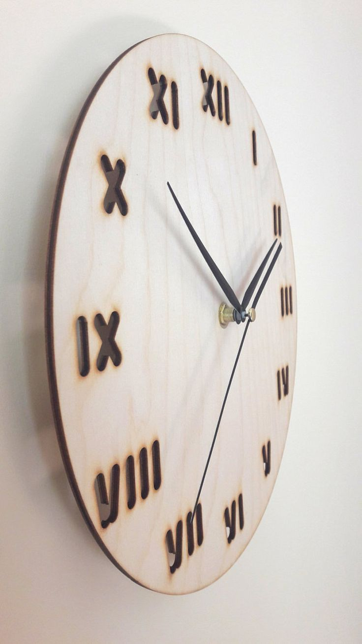 Minimal designed wood wall clock Home decor by wolflaserart
