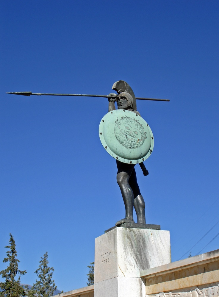 "King Leonidas of Sparta died at the Battle of Thermopylae in August, 480 BC.  The tomb of Leonidas lies today in the northern part of the modern town of Sparta.  Additionally, there is a modern monument at the site of the Battle of Thermopylae, called the ""Leonidas Monument"" in his honor.  A sign, under the statue, reads simply: MOLON LAVE (""Come and get them!"") which the Spartans said when the Persians asked them to put down their weapons."
