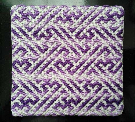 こぎん刺しコースター 紫グラデーション