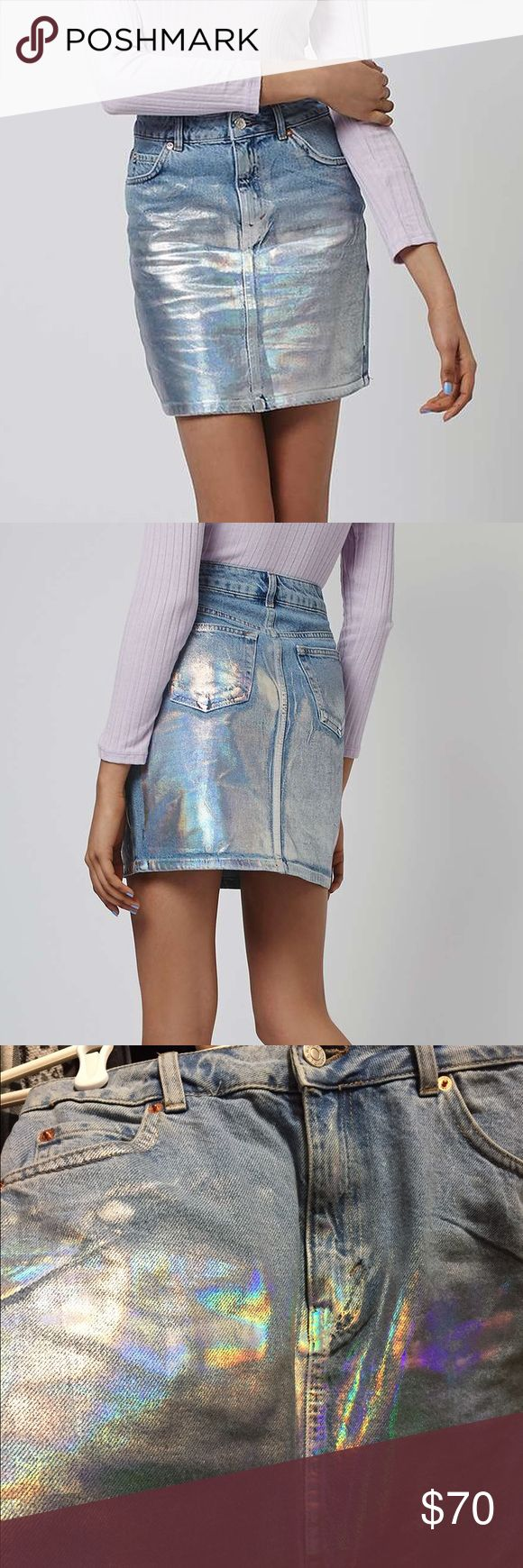 Rare Holographic Painted Jean Pencil Skirt I found this skirt quite a white ago and fell in love! It was the last one online and I had to get it thinking I could squeeze into a 4 but I just can't with my hips. This skirt is such an amazing way to make a statement! It's never been worn or washed! Topshop Skirts Pencil
