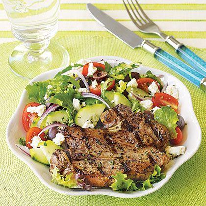 Grilled Lamb Chops with Greek Salad Recipe | MyRecipes