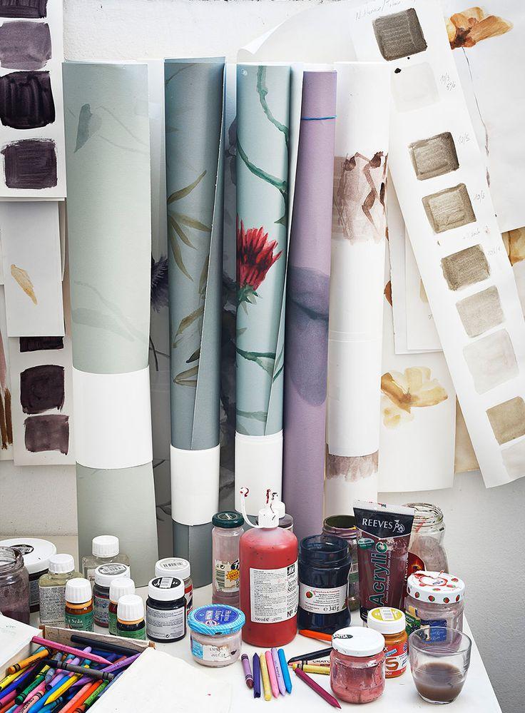 Nuestro estudio. Hand-painted Wallpaper