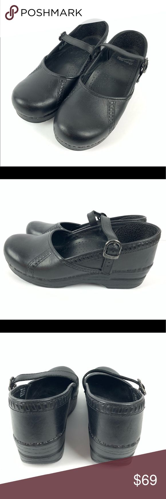 ☮️ Dansko Marcelle cabrio leather Maryjane size 39 Dansko Clogs Marcelle Bla…