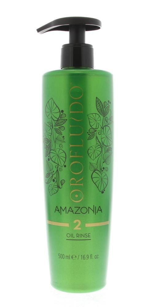 Orofluido Amazonia Stap 2 Oil Rinse Treatment Verzwakt/Beschadigd Haar 500ml  Description: Orofluido Amazonia Stap 2 Oil Rinse.Intensief voedende behandeling van 3 stappen. Dit is stap 2. Deze oliespoeling maakt het haar schoon en beter hanteerbaar. Deze olie heeft een zeer aangename parfum van exotische bessen verfijnd met kruidige bestandsdelen zoals amazonehout muskus en zoete noten.Gebruik: Brengt de olie aan op nat haar na stap 1 verdeel gelijkmatig met een kan. Masseer de olie goed in…