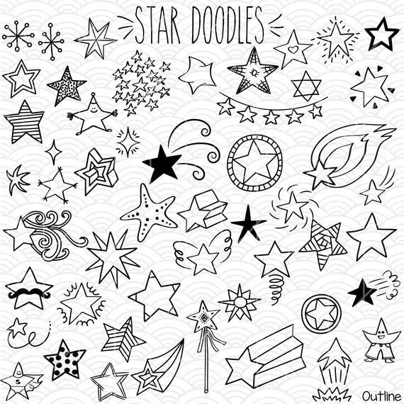 Star Doodles Clip Art Hand Drawn Constellation Shooting Etsy Star Doodle Doodles Art Bundle