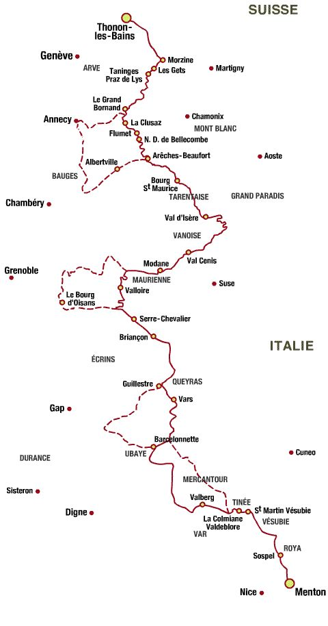 This is the route we'll take when we drive through the French Alps.