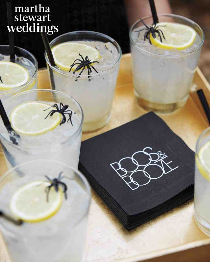 "23 Cute Wedding Coasters & Napkins | Martha Stewart Weddings - To tie in the Halloween theme, blogger and actress Jamie Chung and now-husband, actor Bryan Greenberg, printed the punny phrase, ""Boos&Booze"" onto their cocktail napkins."