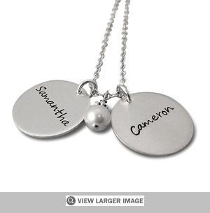 Double Charms Name Necklace in Silver. Sale price: $128.00