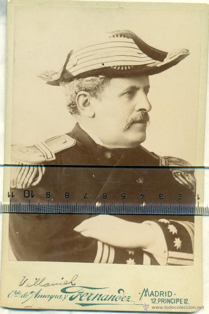 Fotografía antigua: MILITAR. MARINA. CAPITAN DE NAVIO VILLAAMIL. GUERRA DE CUBA 1898.TIPO CABINET. - Foto 1 - 43467600