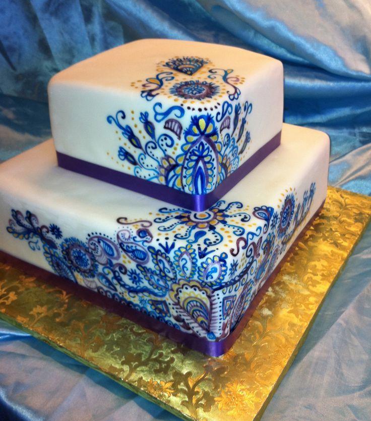 maui wedding cakes square fondant cake with hand painted henna design
