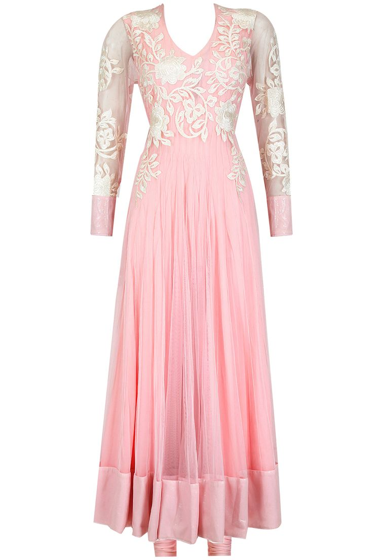 Pink flower applique anarkali set available only at Pernia's Pop-Up Shop.