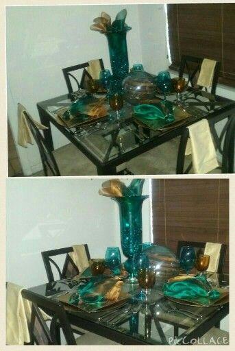 Simple elegance: breakfast nook table set up.