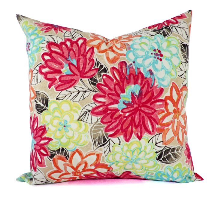 Watercolor Pillow Covers - Outdoor Pillow Cover - Pink Pillow Covers - Floral Pillow Cover - Teal Pillow Cover - Blue and Pink Pillow Sham by CastawayCoveDecor on Etsy https://www.etsy.com/listing/119102185/watercolor-pillow-covers-outdoor-pillow
