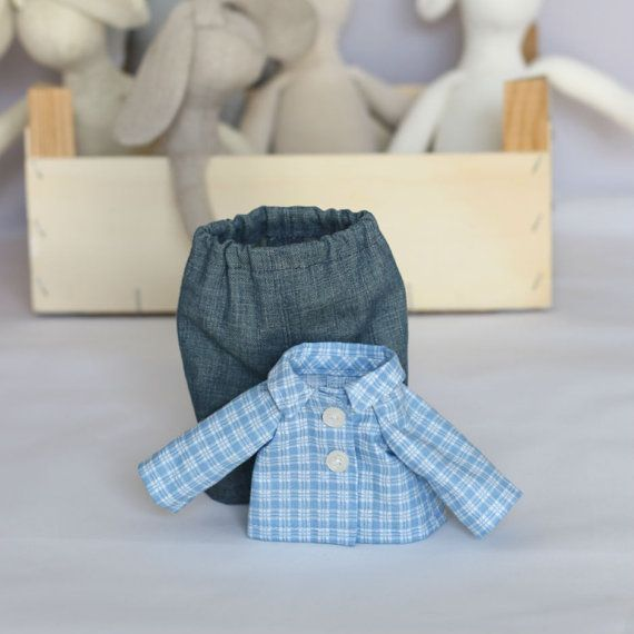 Blue Jeans and Blue White Checked Shirt Boy Doll by RibizliDesign, $12.00