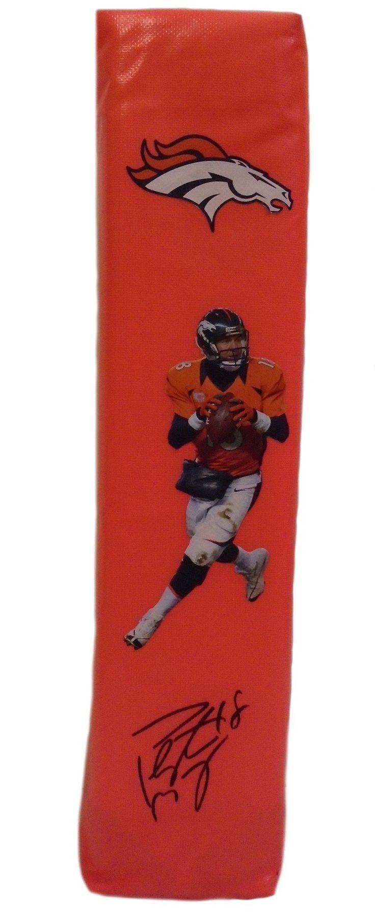 Peyton Manning Autographed Denver Broncos Photo Full Size Football End Zone Touchdown Pylon, PSA/DNA
