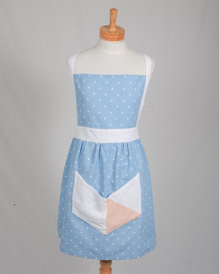 Retro Geometric Apron - Blue