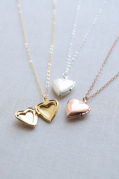 Small Heart Locket Necklace can be personalized with an engraved initial. Available in silver, gold and rose gold. By Olive Yew.