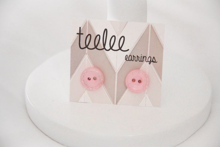Pink Glittery Button Earrings - Teelee - A Bits & Bobs Brand