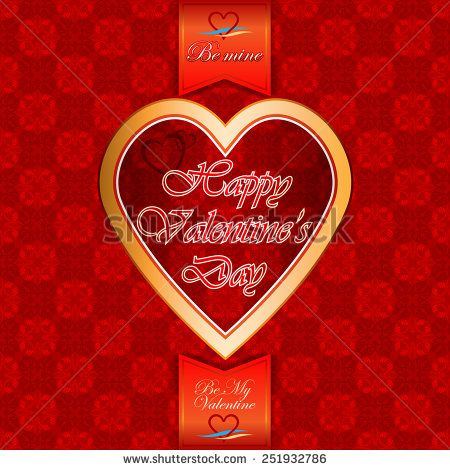 Vintage  labels with Happy Valentine's Day text; Be My Valentine/Be Mine text and nice heart logo;Ornamental arabesques background.  - stock photo