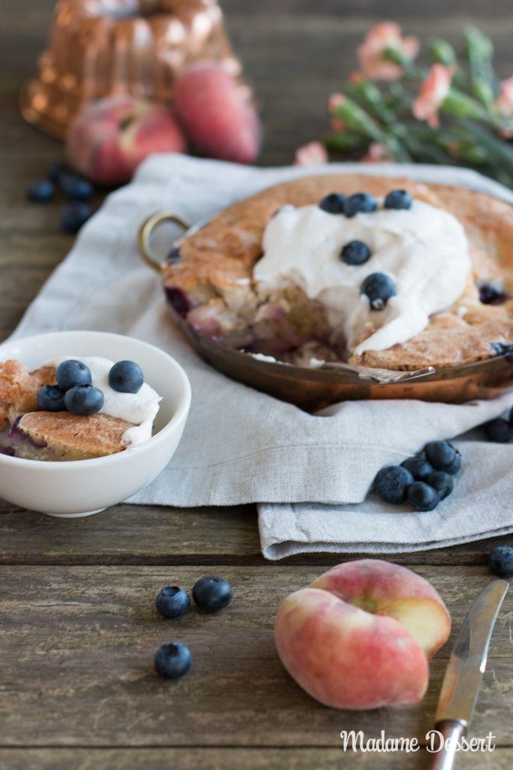 Ein Hauch USA – Rezept für lauwarmen Pfirsich Heidelbeer Cobbler | Madame Dessert