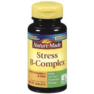 Stress B Complex twice a day improves mood, lowers anxiety, and helps you sleep better at night....uhhh i need this--hope the description is true! @Rebecca Compton