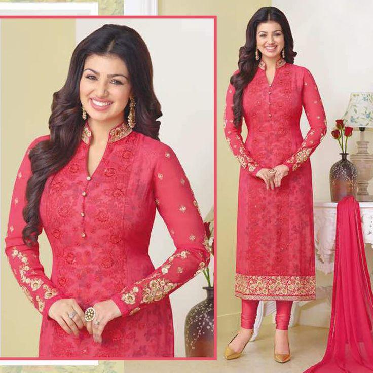 New Bollywood Indian Georgette Salwar Kameez Zari Embroidery Party Wear Dress #Shoppingover #SalwarKameez
