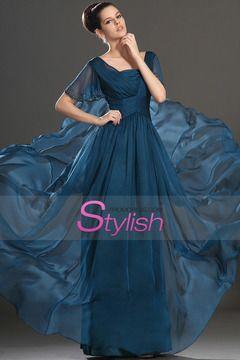Short Sleeve A Line Floor Length Mother Of The Bride Dresses Ruffled Bodice New Arrival $ 129.99 STPX17RYCT - StylishPromDress.com