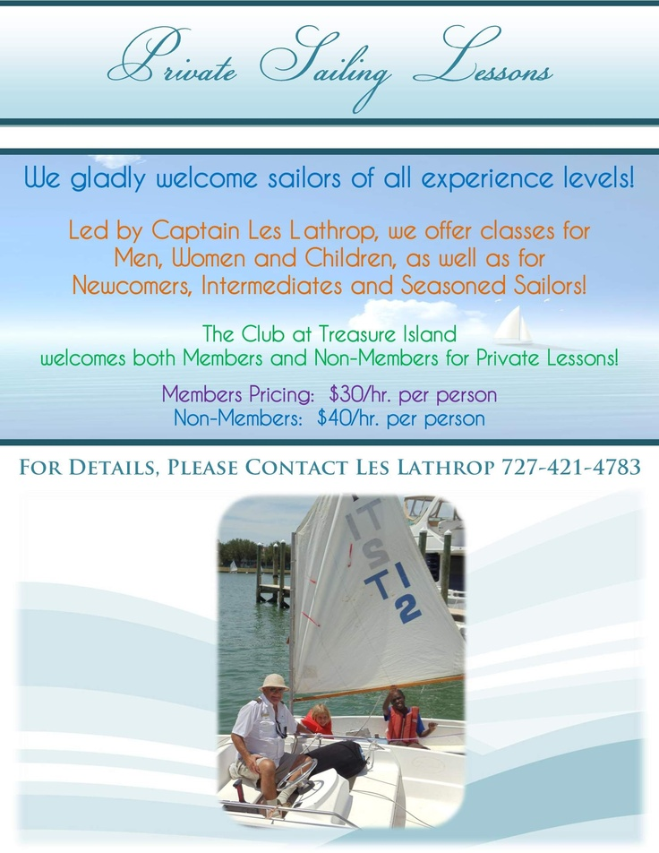 Kids...Have you always wanted to learn to sail? Come to The Club and sign up for Sailing Lessons with Captain Les! Whether you are a beginner or expert, Les can teach you all about how to become a great sailor!  Click the photo for more information and for a link to our Youth Programs page on our website!