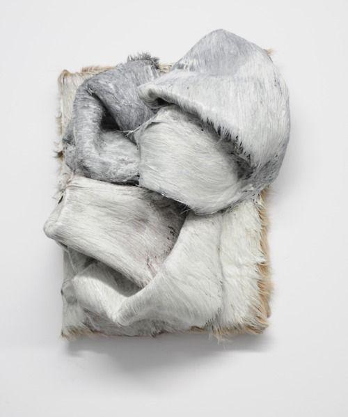 "Jessica Sanders, piece in progress; 2011, canvas, cowhide, oil paint, 14"" x 12"" x 8"" www.jessicasanders.org"