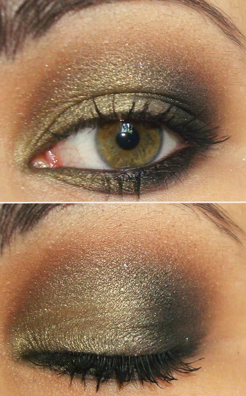 I'm normally more of a natural color girl, but I love this olive eyeshadow with her hazel/green eyes! Like mine! =)