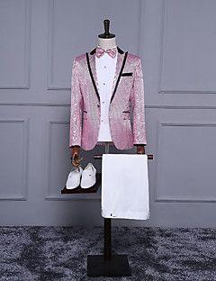 costumes minces entaille mince simple boutonnage deux boutons d'ajustement de polyester solides 3 pièces